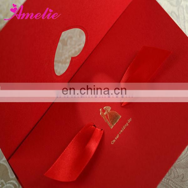 ACW1041 Bride and Bridegroom Stock Red Ribbon Marry Invitation Card