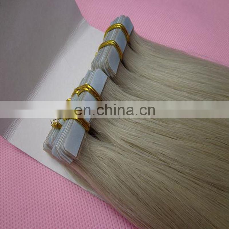 Wholesale virgin remy full ends straight blue tape wholesale tape hair extensions, ash blonde tape in hair extensions
