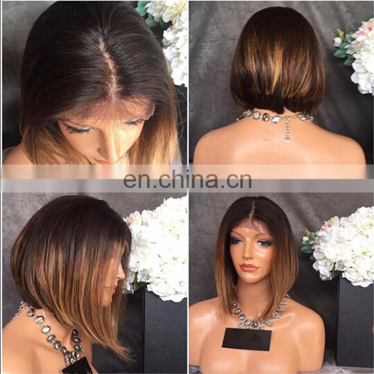 Highlight Color Short Bob Style Human Hair Full Lace Wig 1B And 30 Color Wig Brazilian Hair With Natural Hairline