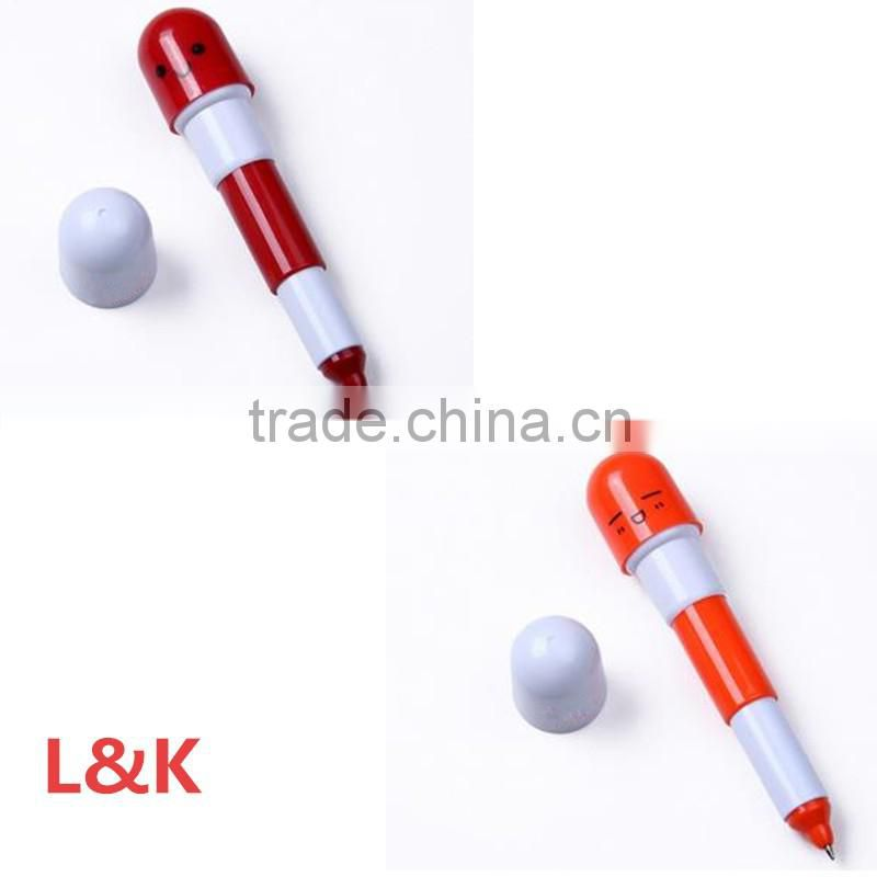stretchable promotional plastic ball pen/capsule shape advertising ball pen