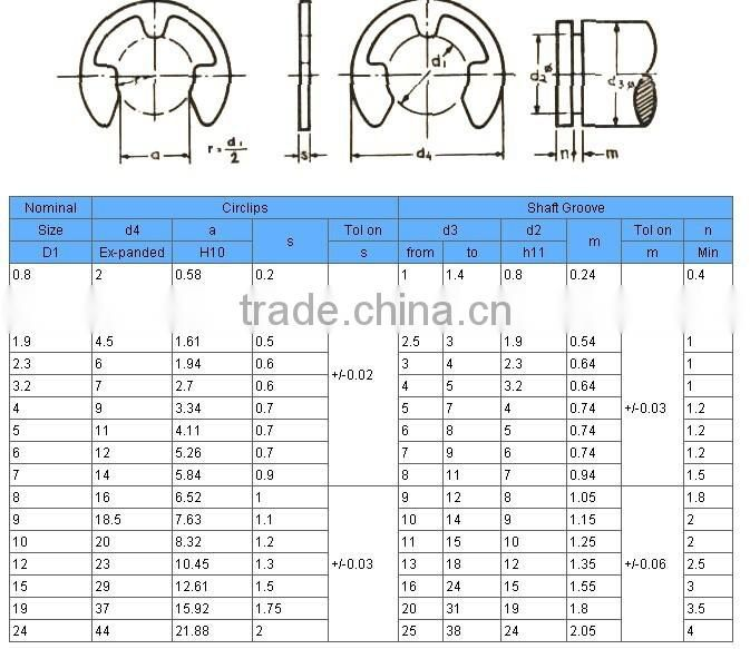 bowed e ring , retaining ring(DIN6799/D1500)