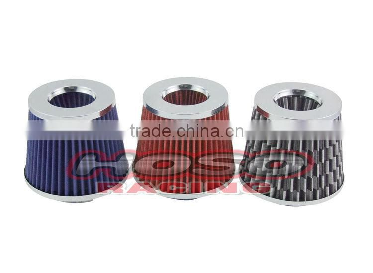 """3 Inches 3/"""" 76 mm Cold Air Intake Cone Replacement Filter RED Mitsubishi"""