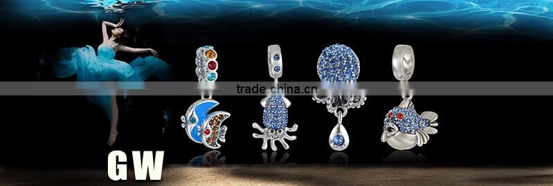 S359 Globalwin Silver Jewelry Wholesale Micro Stone Paved Octopus Design Sea Life Sterling Silver DIY Charm