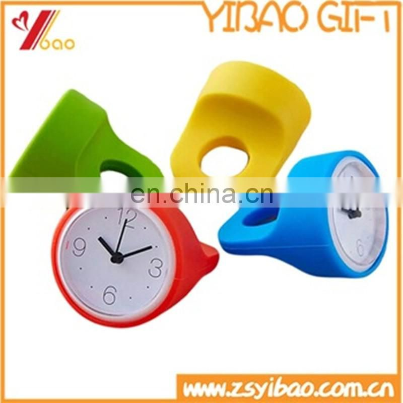 Eco-friendly round shape silicone desk alarm clock/table clock