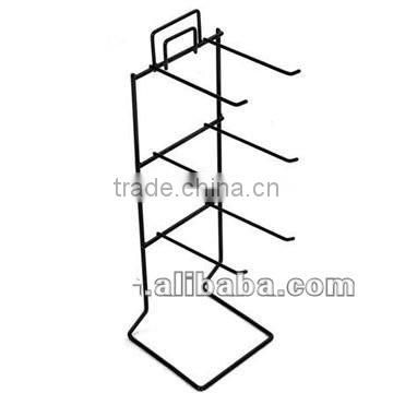 Double Sided Floor Stand Metal Display Shelf With 40 Hooks 2 Wire