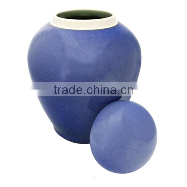 2015 Nice new model pure blue ceramic urn high quality low price
