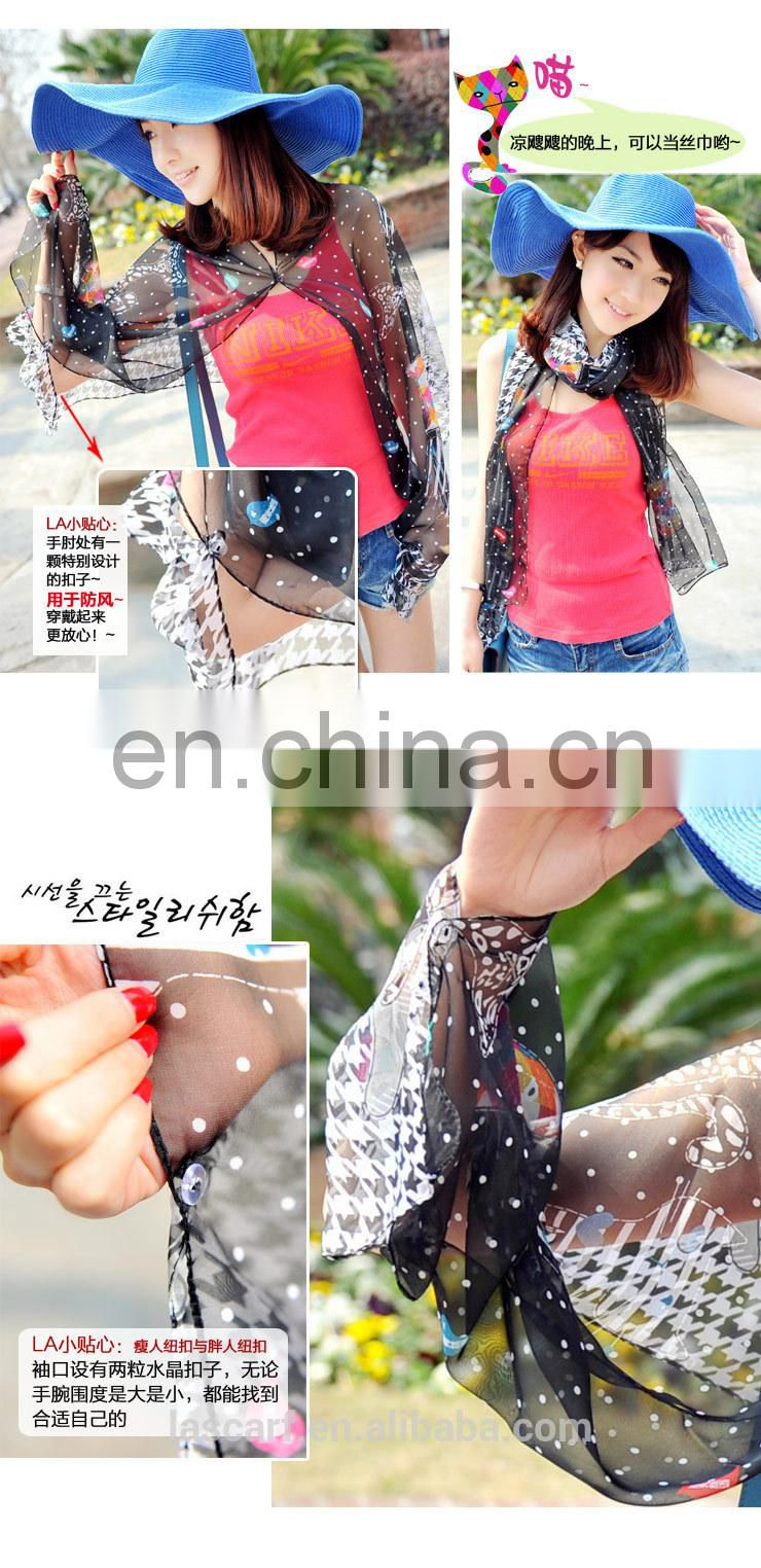 2015 Newestsummer fashion design polyester chiffon Uv protection scarfs (PP612AL-P)