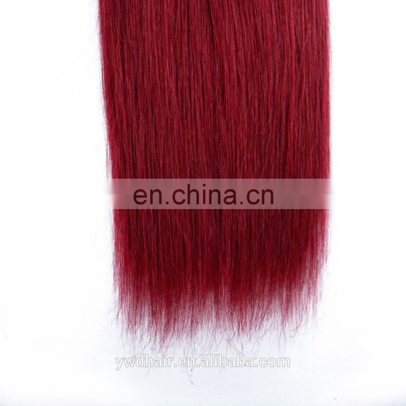 Grade 8a virgin hair Pervian straight ombre bundles hair weaves 1B/red color