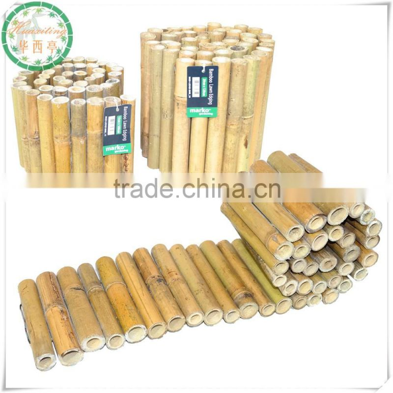 popular high and low string nature eco-friendly garden roll up threaded bamboo edging