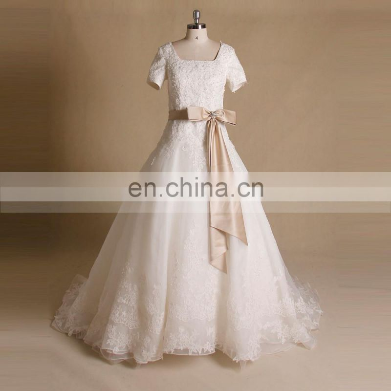 Graceful classical beauty style A-line square neck lace and beads satin wedding dress with short sleeve