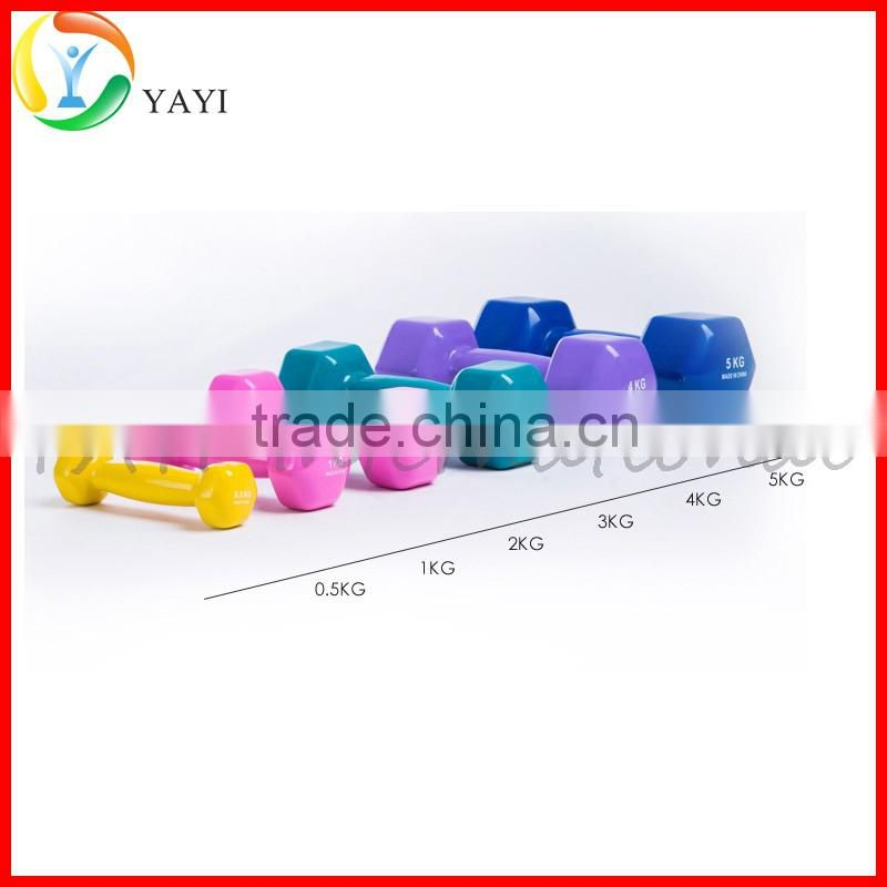 Gym Fitness Equipment Free Weight Vinyl Coated Hex Dumbbell