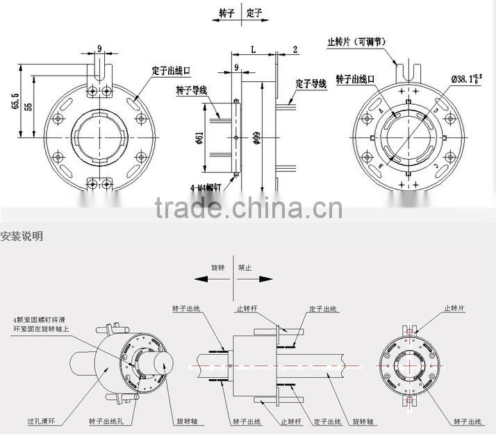 SRH 3899-2p Through bore slip ring ID38 mm. 99mm 2Wires, 10A x2wires 10A