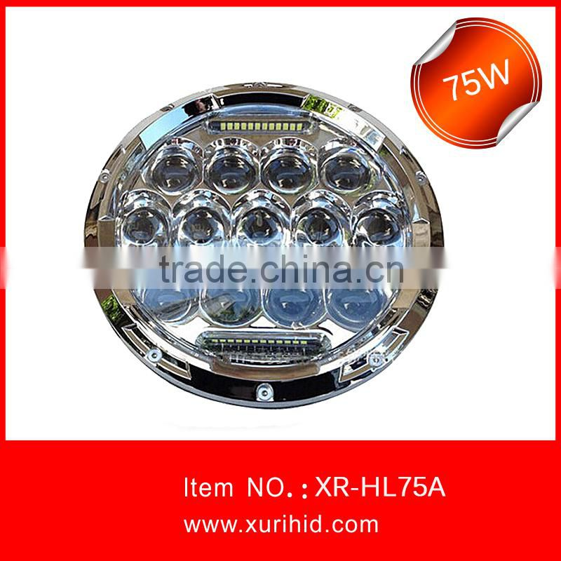 atv 4x4 accessory jeep wrangler 12v 24v 4x4 7inch 75w car led headlight led driving light