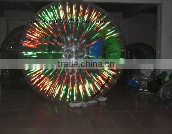 China factory supply shining in dark inflatable zorb ball/ inflatable body bumper zorbing ball