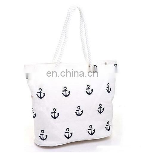 fashion black handle cotton beige bag