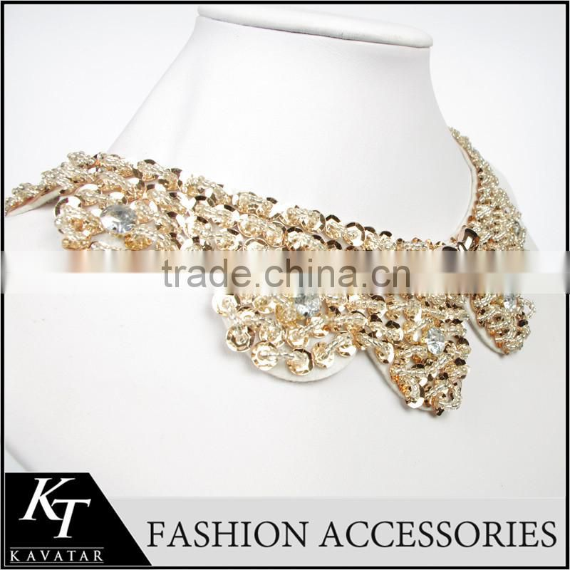 New Wedding Dress Decoration Lace Collar Necklace Bling Crystal Thick Beaded Collar In 2015