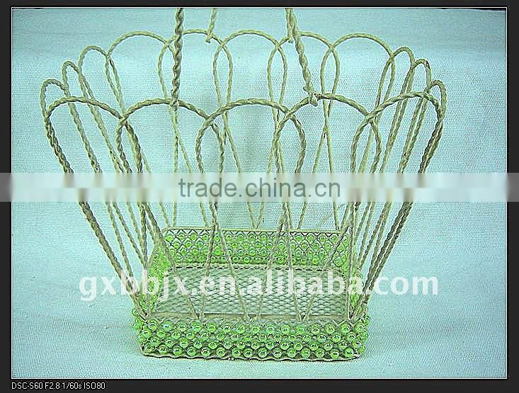 Rectangle wire decorative with green pearl indoor flower hanging basket