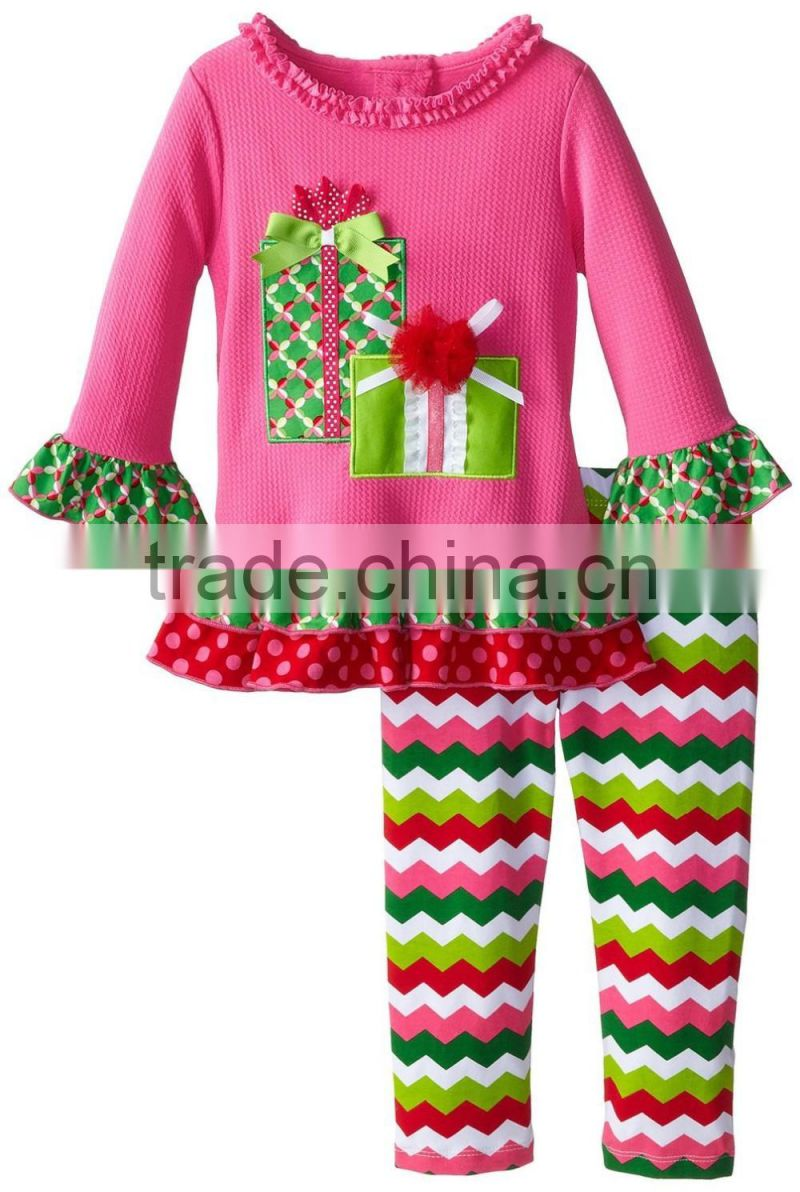 children christmas clothes red santa claus top with red ruffle pants girl christmas costumes kids outfits