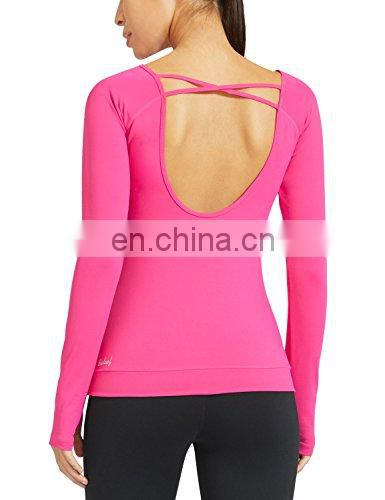 Women's Cowl Back Long Sleeve Workout Yoga Shirts Tee clothing
