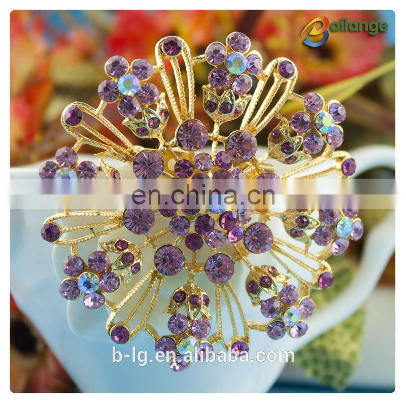 Ladies evening dress rhinestone decoration purple color brooch flower