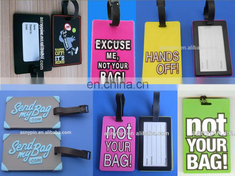 travel novelty standard size custom character printing soft pvc luggage tag