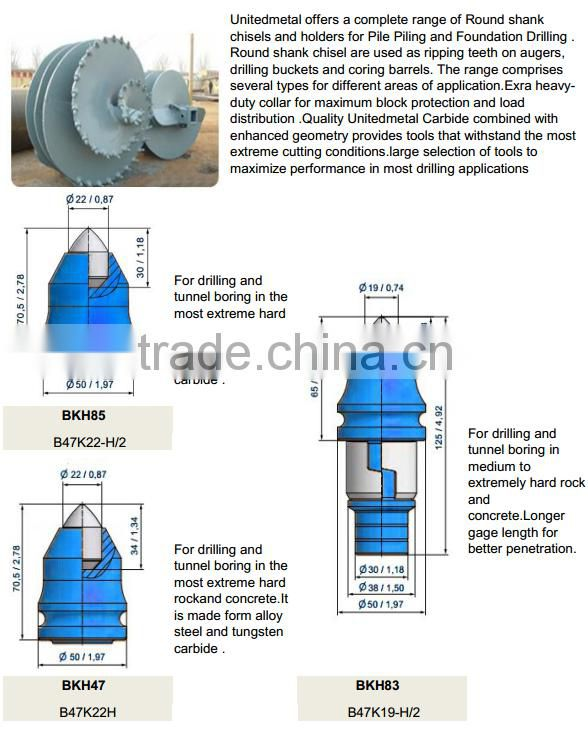 BKH 85 Drill Auger Bits Construction Machinery Spare Parts Tungsten Carbide Round Shank Teeth