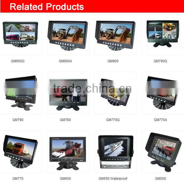 factory best 7 inch waterproof car monitor for fire truck / vessel 4-CH inputs with split function