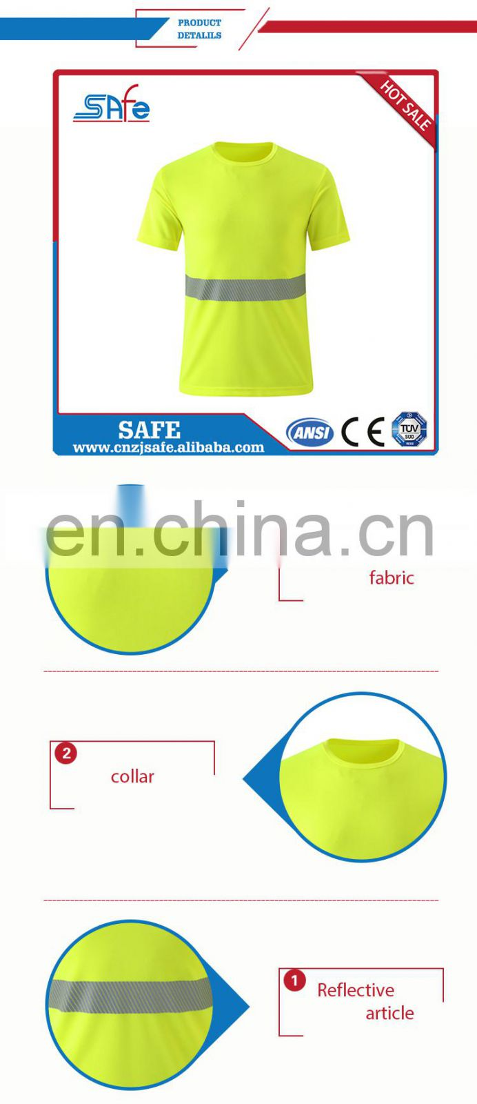 Comfortable high visability safety work T shirt