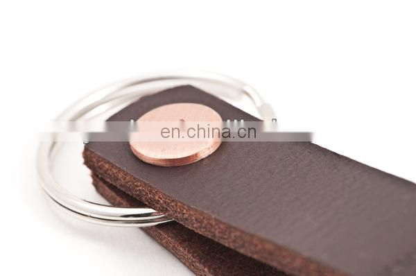 Embossed Brown Leather Key Ring