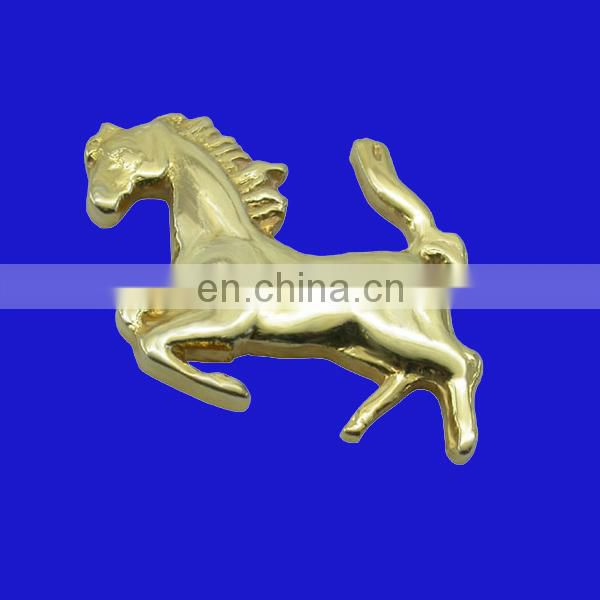 custom metal horse lapel pins with 3D gold color