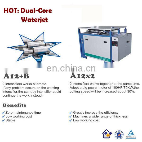 APW Diamond Orifice waterjet cutting machine for metal stone glass with Italian CNC Control System Double Intensifiers Pump