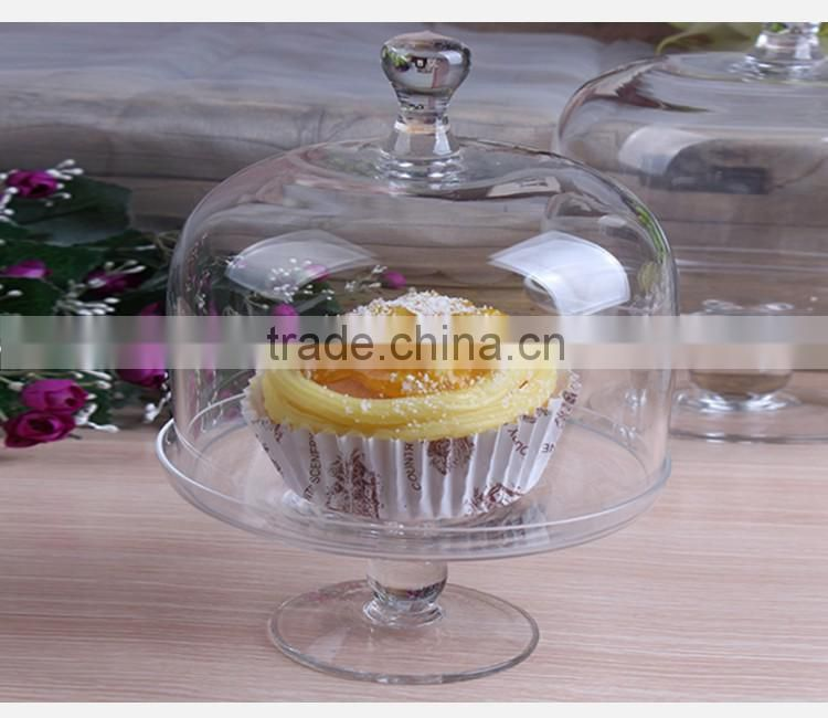 Handmade clear Birthday decor mini glass cake plate with dome