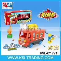 Children bump and go electric car toys with blocks for sale