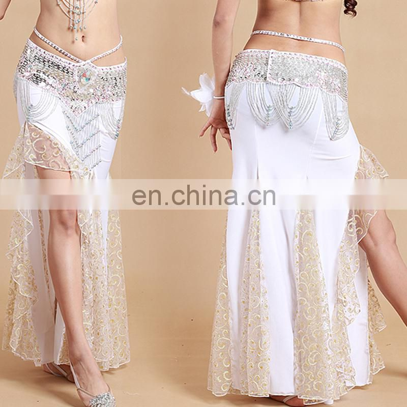 Q-6036# High lace and milk silk long sexy belly dance dress for sale