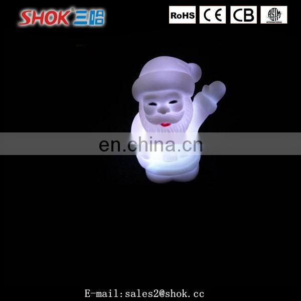 2016 hot selling small christmas decorations plastic led light santa claus