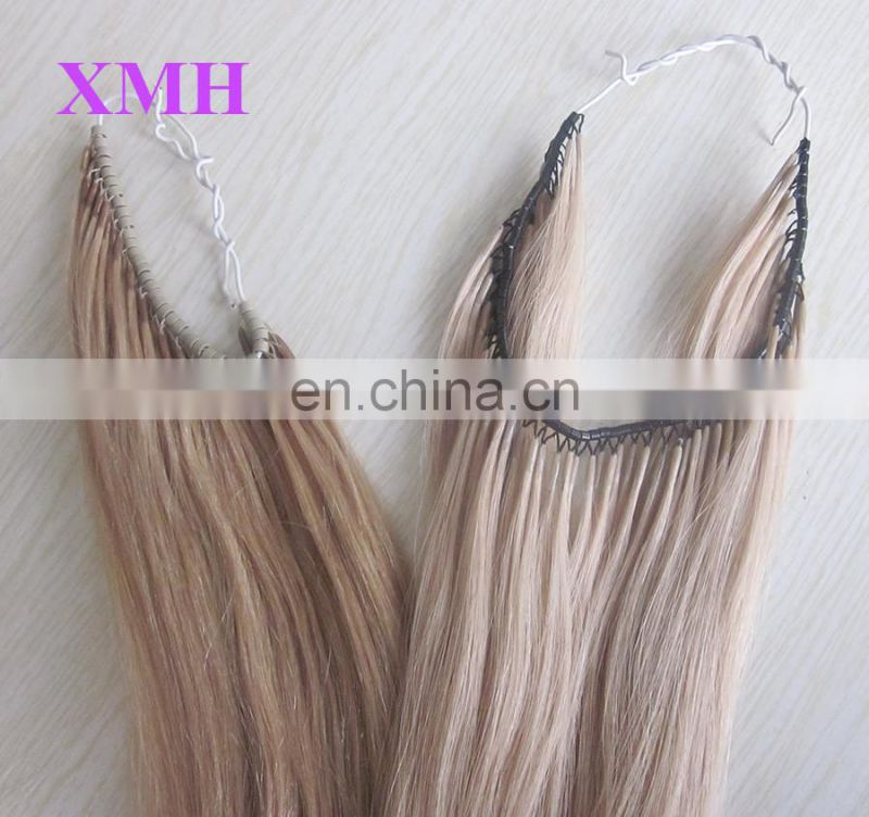 high quality blonde hair extension human hair micro rings thread hair