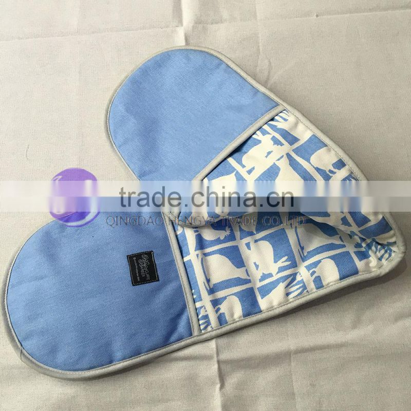2016 whosale custom printed cotton double oven mitt double oven glove