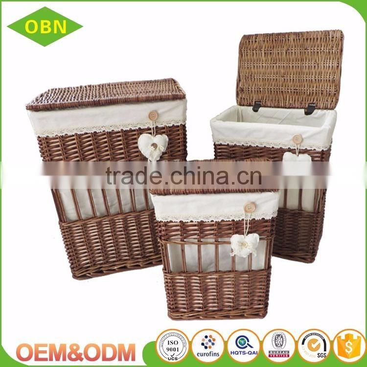 factory supply high quality hand woven natural willow laundry basket hampers wicker baskets