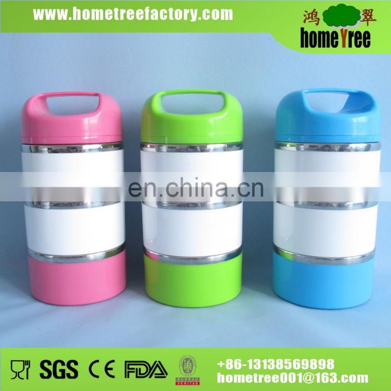 1to4 Layers Promotion Gift Portable Plastic Outside Round Stainless Steel Lunch Box
