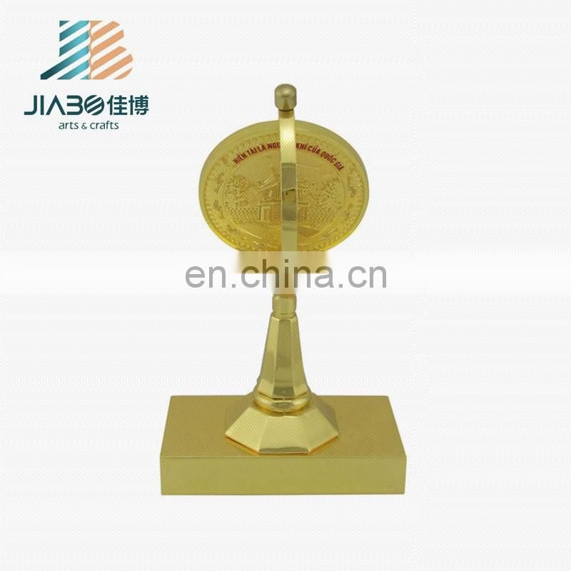 cheap custom round rotating painted gold plating trophy