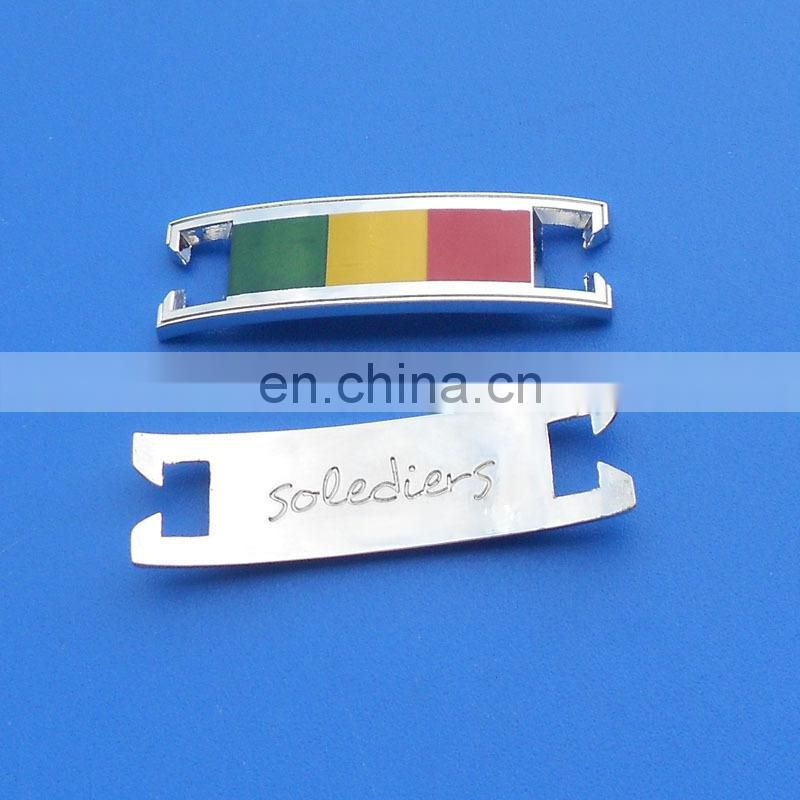 wholesale engraved custom logo rectangle shape metal shoelace charm for sport shoes
