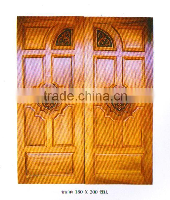 Engraving Solid Wood Double Door Real Thai Teak Wood Main