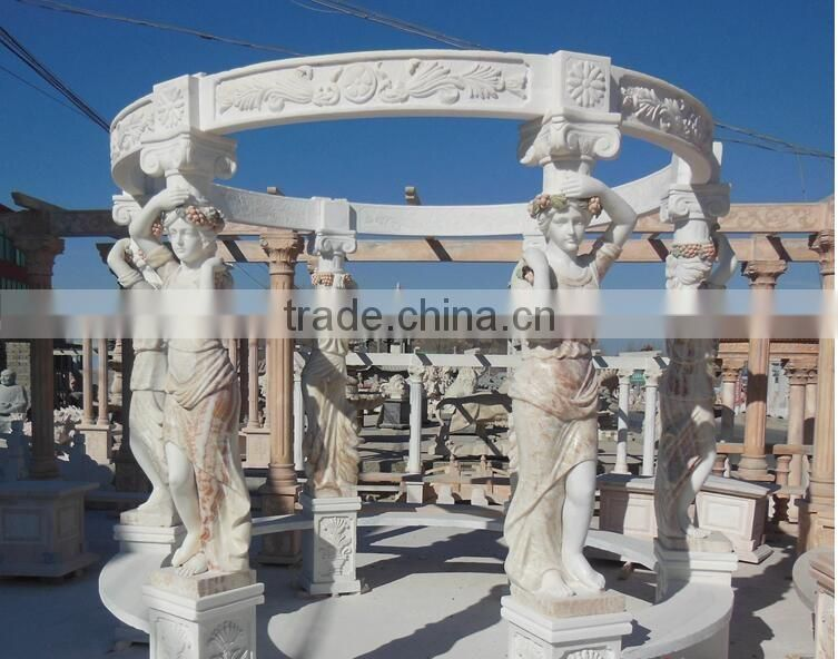 hand carving marble gazebo garden luxury gazebo with lady statue NTMG-237S