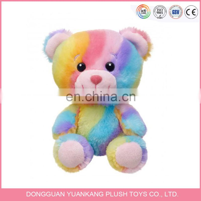 Fashion Custom rainbow colored plush teddy bear/ cute stuffed animal soft toy