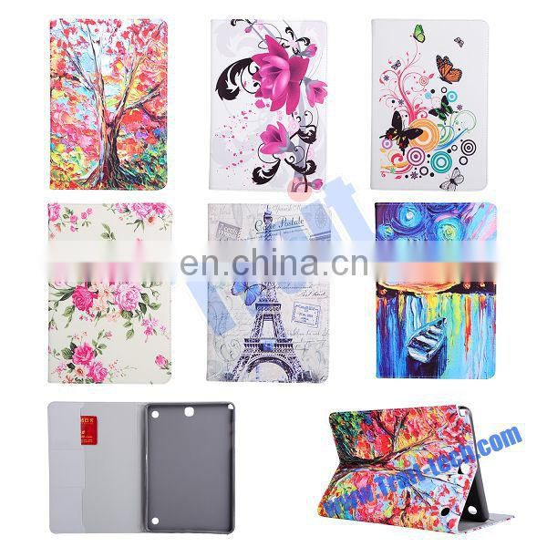 Red Leaves Pattern Card Slots Side Flip Stand TPU+ PU Leather Case for Samsung Galaxy Tab A 9.7 T550