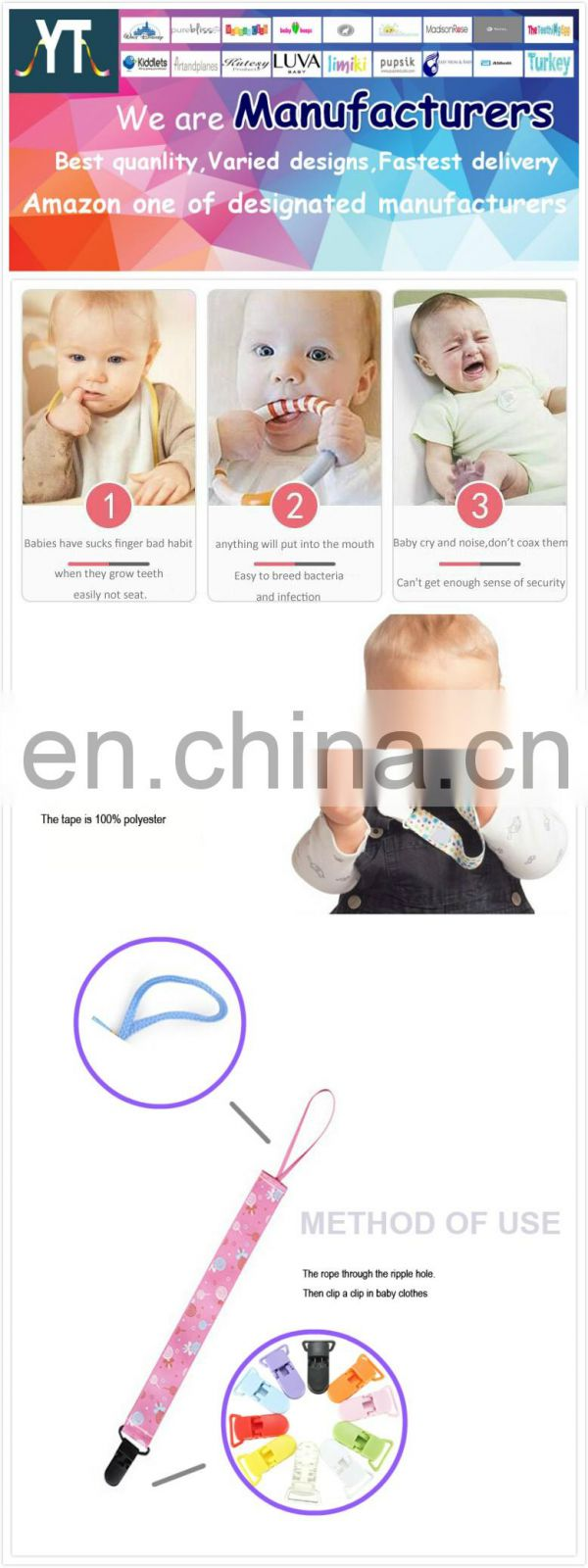 baby feeding cheap manufacturers price Wholesale pacifier clips/2017 Cute Design Baby Soothie Pacifier Clips