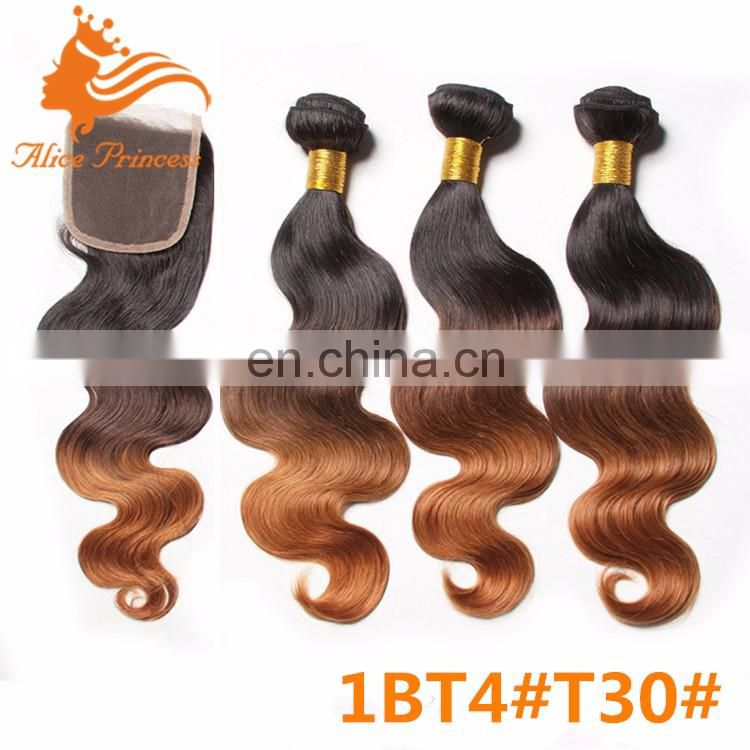 Three tone 100 unprocessed virgin indian human hair ombre color wefts 1BT27#T30# color body wave bundles