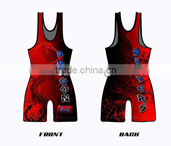 low price sleeveless youth cheap sublimated wrestling singlets for sale