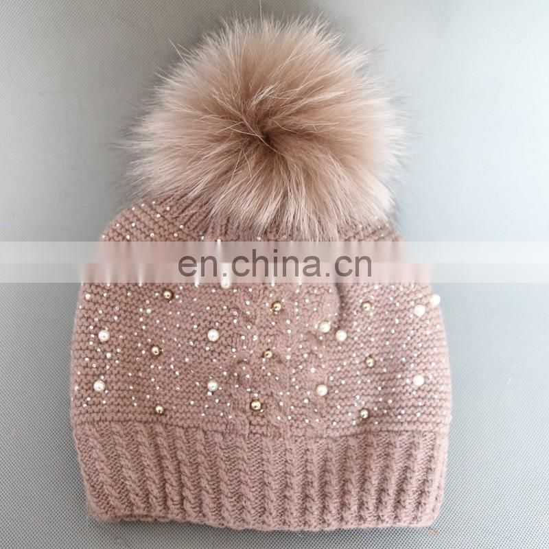 Popular color fur pom pom knitted beanies crochet women hat