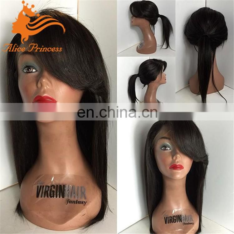 virgin mongolian hair wig silky straight lace wig with side bangs alice hair full lace wig 12 inch